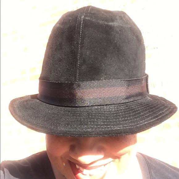 Gucci Accessories - GUCCI Black Suede Fedora Hat Choc.. Brown Ribbon. 1260f374c6f